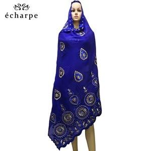 Image 2 - % 100% pamuk eşarp afrika kadınlar özel müslüman kadınlar nakış başörtüsü eşarp büyük daire tasarım başörtüsü EC122