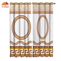 Círculo étnico grego geométrico cortinas da janela sala de estar ao ar livre tecido cortina decoração casa