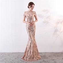 Formal-Dress Short-Sleeve Sequined-Floor-Length-Robe Evening-Gown Mermaid De-Soiree Off-The-Shoulder