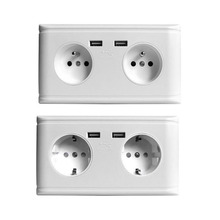 Dual USB Port Electrical Wall Charger Adapter Power Socket German/French 2AC Outlet Panel Plate Socket