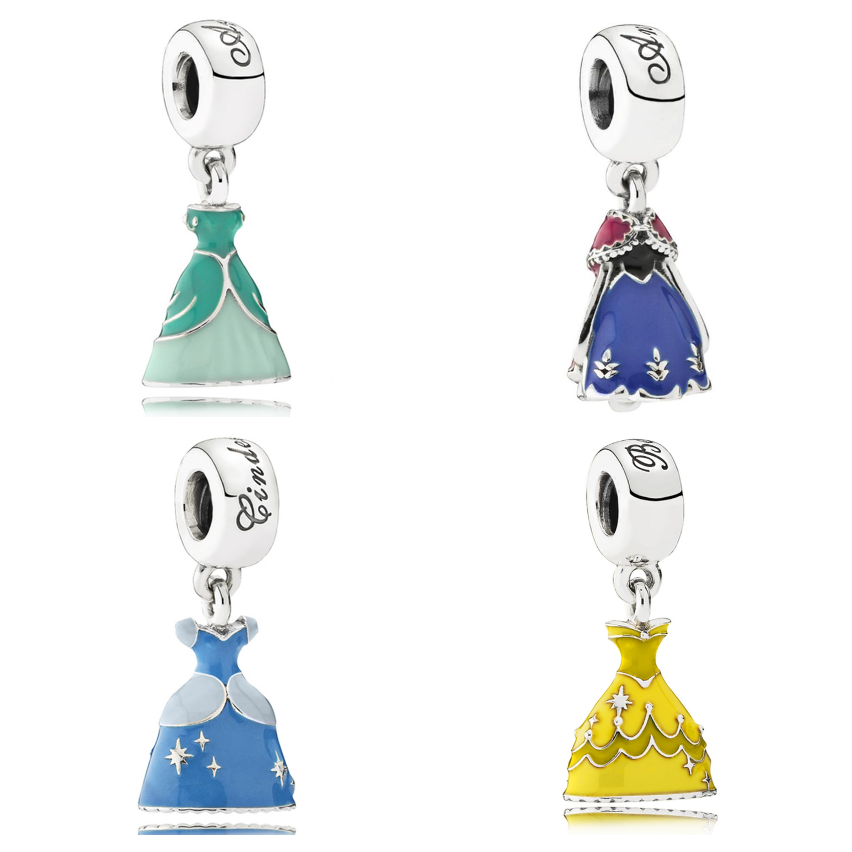 Authentic 925 Sterling Silver Snow White Blue Green Dress Enamel Charm Dangle Bead fit Pandora Beads Charms Bracelets Jewelry