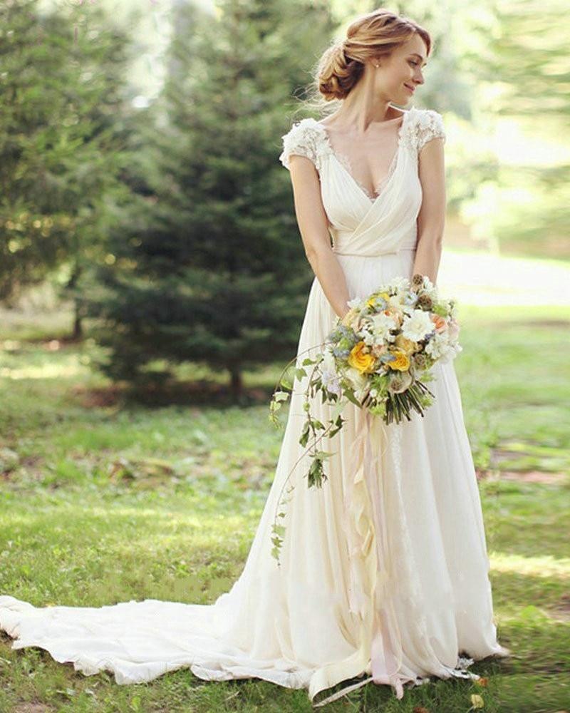 Wedding Bridal Gown 2018 Top Selling Short Sleeve Robe De Soiree Lace Deep V-neck Vestido De Noiva Mother Of The Bride Dresses