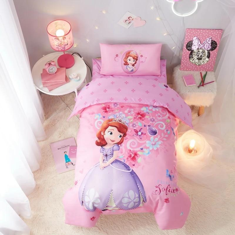 Pink Sofia Princess Comforter Bedding Set Crib Size For Girls Baby 120 150cm Quilt Duvet Covers 100 Cotton Bedspreads Kids 3d Bedding Sets Aliexpress