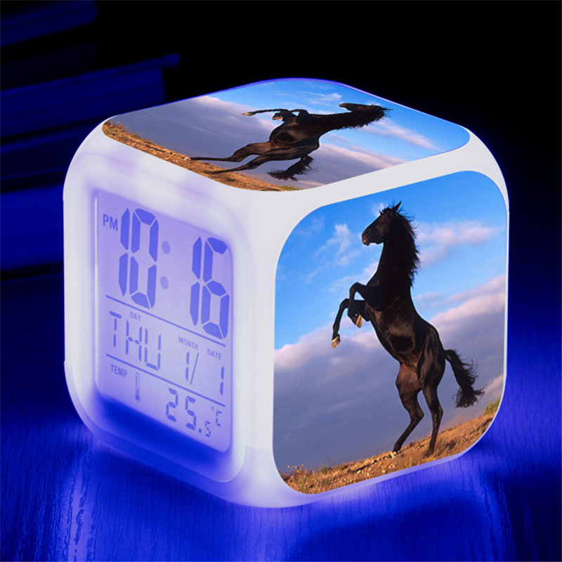Animals <font><b>Horse</b></font> Digital Clocks Color Changing Despertador White <font><b>Horses</b></font> Led Alarm Clocks Action <font><b>Figure</b></font> Light Up Toys Doll Kids Gift image