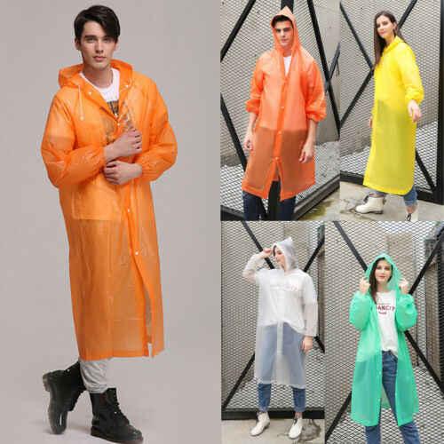 Women Men Waterproof Jacket Thick PVC Raincoat Rain Coat Hooded Poncho Rainwear