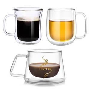 Mugs Drinkware Coffee-Cups Beer Handmade Double-Wall-Glass Transparent Healthy