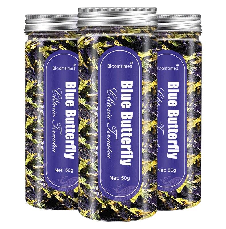 Bloomtimes Thailand Blue Butterfly Pea Tea Dried Clitoria Ternatea Thai Butterfly Flower Pea Tea Natural Antioxidants
