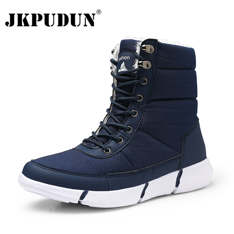 Waterproof Men Boots Winter With Fur Super Warm Snow Boots Men Unisex Winter Casual Shoes Sneakers High Top Rubber Ankle Boots