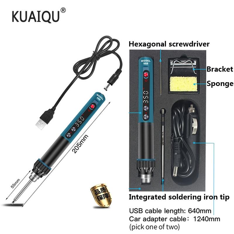 Portable USB Electric Soldering Iron Adjustable Temperature LCD Digital Display Welding Solder Iron Tips Repair CXG-968 24V 2A