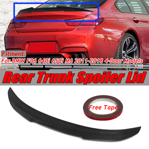 PSM Style F06 Real Carbon Fiber Car Rear Trunk Boot Lip Spoiler Wing Lid For BMW F06 640i 650i M6 2011-2018 4Dr Spoiler Wing Big(China)