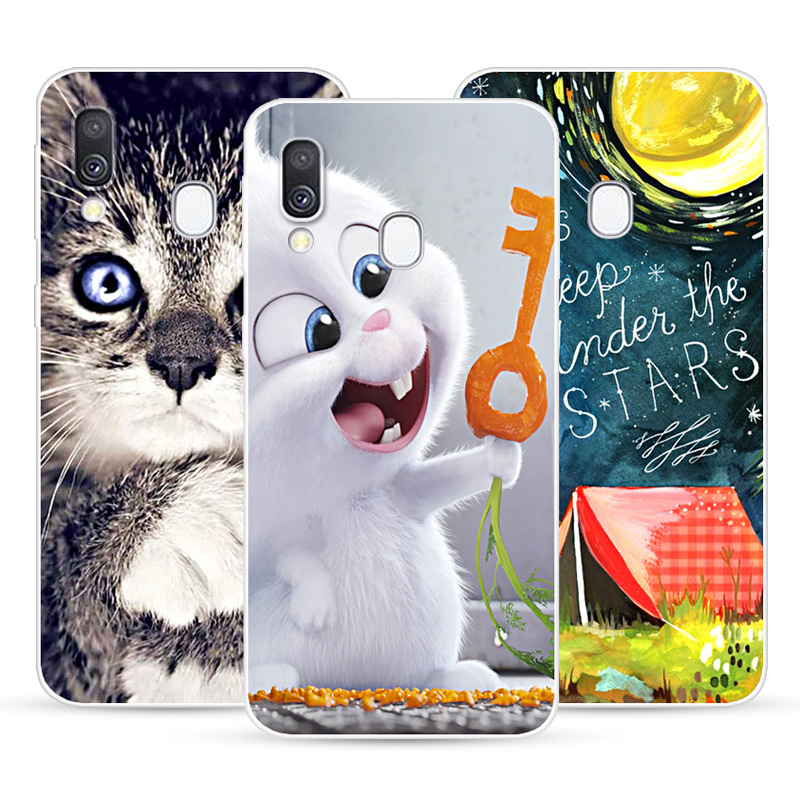 Luxury Soft Silicone TPU Case For <font><b>Samsung</b></font> Galaxy <font><b>A40</b></font> A 40 Floral Animal Cat Patterned <font><b>Cover</b></font> Protective Phone Cases Fundas Coque image
