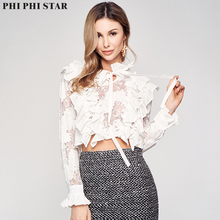 Phi Phi Star Brand French Style Short Blouse Women Office Wear Long Sleeve flounce Stand Collar Shirt Blouses Tops цена 2017