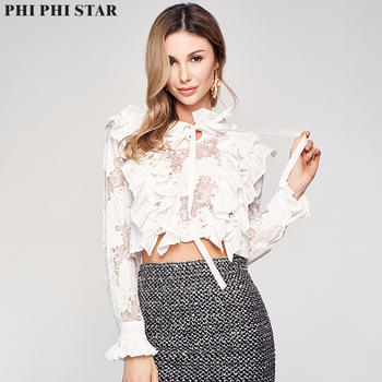 Phi Phi Star Brand French Style Short Blouse Women Office Wear Long Sleeve flounce Stand Collar Shirt Blouses Tops tie neck flounce blouse
