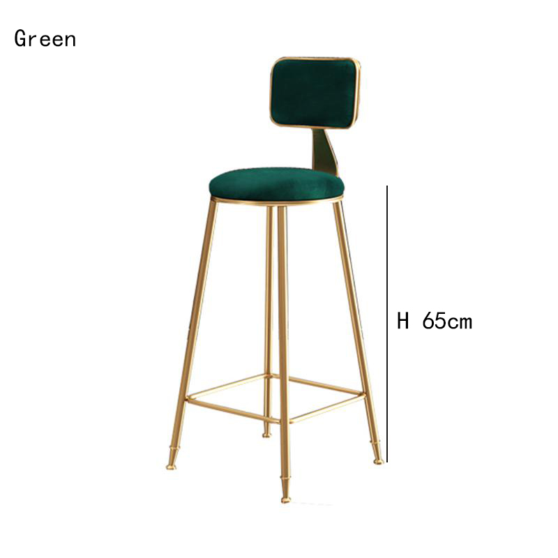 Modern Wrought Iron Bar Stool Minimalist Home Backrest Nordic Beauty Dining Chair High Stool Restaurant Cafe Stool Bar Stool