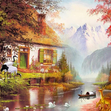 2020 New Custom Wallpaper 3d High-Definition Landscape Village On the Yellow Orange Maple Leaf Background Wall Painting Murals