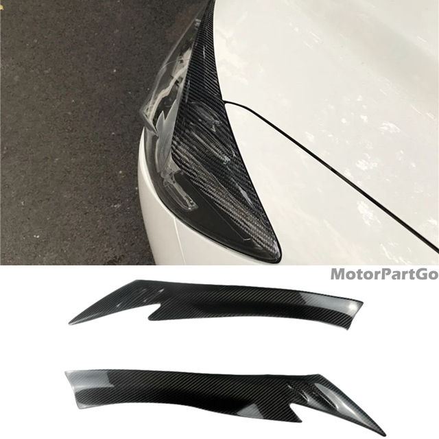 Real Crabon Fiber Head light Eyelid Eyebrow Cover Trim 1pair for  Mazda CX-5 CX5 2013-2016 T203 1