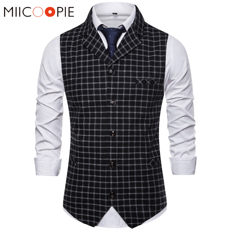 Suit Vest Waistcoat Black White Gilet Plaid Formal Single-Breasted Casual Mens Fashion