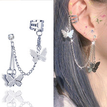 Boucles d'oreilles papillon à Double perçage, bijoux pour femmes et filles, en acier inoxydable, à la mode, 2020