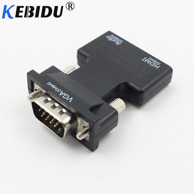 Kebidu 1080P HDMI VGA dönüştürücü adaptör ile ses kadın erkek kabloları adaptörü HDTV monitör için projektör PC PS3