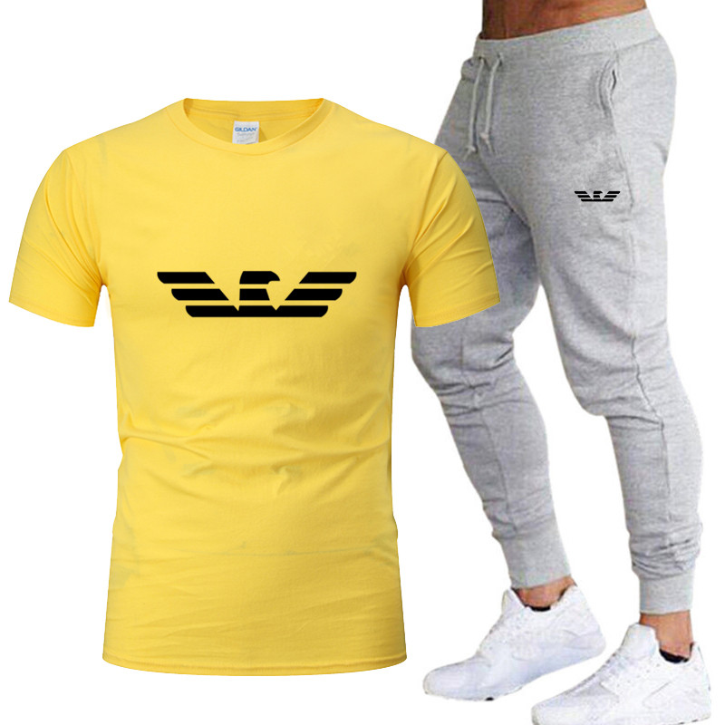 2020 New Brand Men's Sportswear Can Be Customized Logo Sportswear Running Sportswear Outdoor Fitness Sports Two-piece Suit