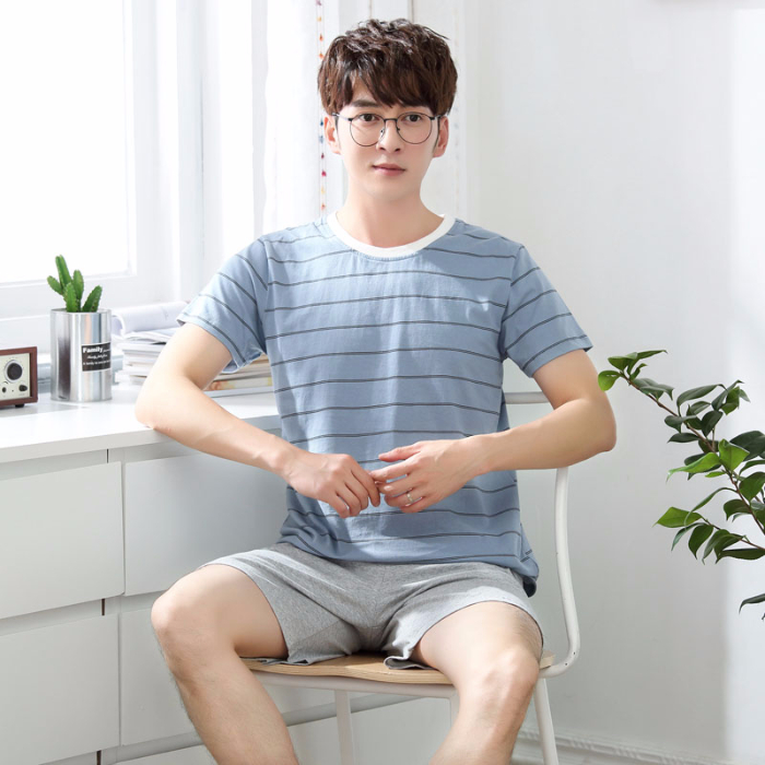 2020 Summer Short Sleeve Cotton Pajama Set For Men Casual Striped Sleepwear Suit Male Homewear Pijama Hombre Lounge Home Clothes