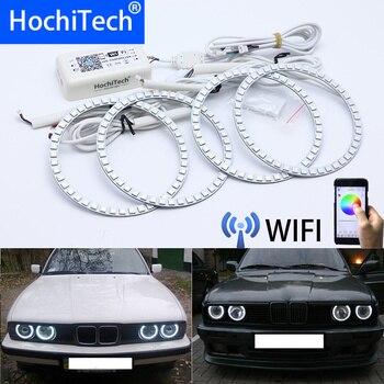 Wifi inalámbrico RGB Multi-Color LED Ángel ojo Halo anillos día luz DRL para BMW E34 E32 E30