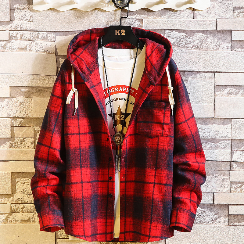 Casual Brand With Hooded Plaid Shirt Men'S Fleece Red Shirts Long Sleeves 2020 New Spring Autumn Plus OverSize M-6XL