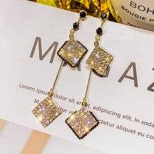 S925 Silver needle temperament long earrings female Korea Joker net red