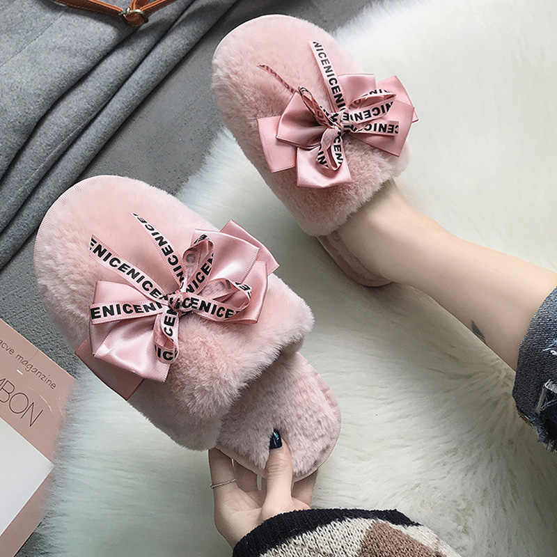CXJYWMJL Women Home Slippers Winter Warm Shoes Female Slip on Flats Slides Female Faux Fur Slippers Women Shoes Closed Toe 1011