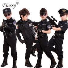 Disfraces de policía para niños, Cosplay para niños, conjunto de uniforme de policía del ejército, uniformes de combate de manga larga