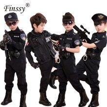 Erkek polis kostümleri çocuk Cosplay çocuklar için ordu polis üniforma giyim seti uzun kollu söndürme performansı üniformaları