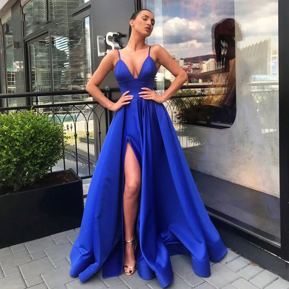 2020 Roayl bleu robe de soirée longue Satin a-ligne Spaghetti sangle v-cou Split étage longueur robes de soirée robes