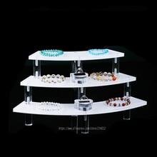 Акриловое волокно 3-Слои ювелирные изделия Дисплей Настольный браслет Дисплей стоят часы показывая стойку Цепочки и ожерелья держатель кольцо головные уборы Дисплей полка