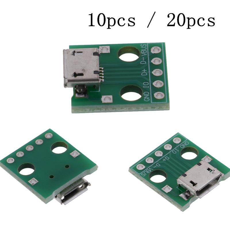 10 шт. или 20 шт. Мини Micro USB к DIP адаптер 5 контактов гнездовые разъемы PCB конвертер платы