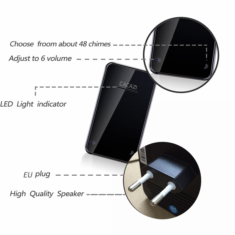 CACAZI Self-powered Waterproof Wireless Doorbell No Battery LED Light 200M Home Cordless Bell EU Plug 1 2 Button 1 2 Receiver