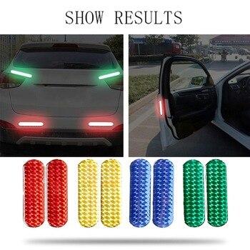 2 ชิ้นประตูรถสติกเกอร์สะท้อนแสงคำเตือนเทปรถสติกเกอร์สะท้อนแสงแถบสะท้อนแสงความปลอดภัย Mark ร...