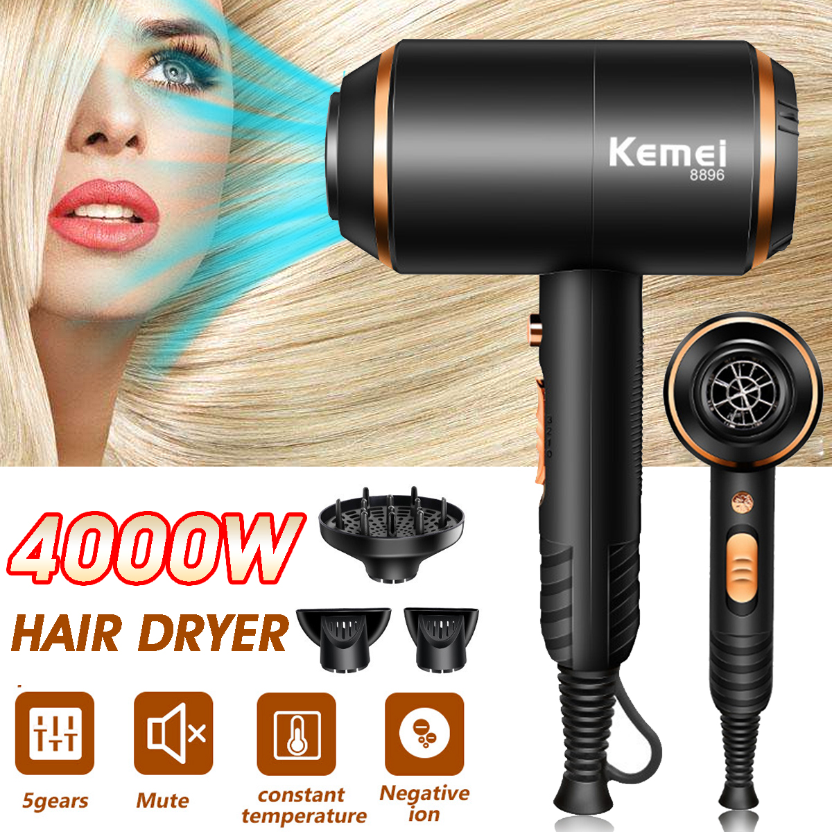 Becornce 110-220v 4000W Professional Hair Dryer Hot Cold Ionic Blow Dryer Fast Heating Household Hairdryer For Hairdressing