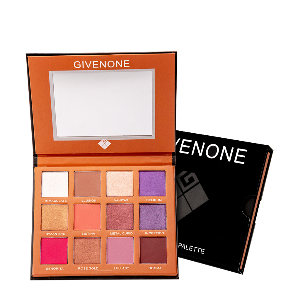 GIVENONE 12 Color eyeshadow Glitter Matte Cosmetics Dreamy Eyeshadow Palette Long-Lasting Waterproof Eye shadow pallette makeup