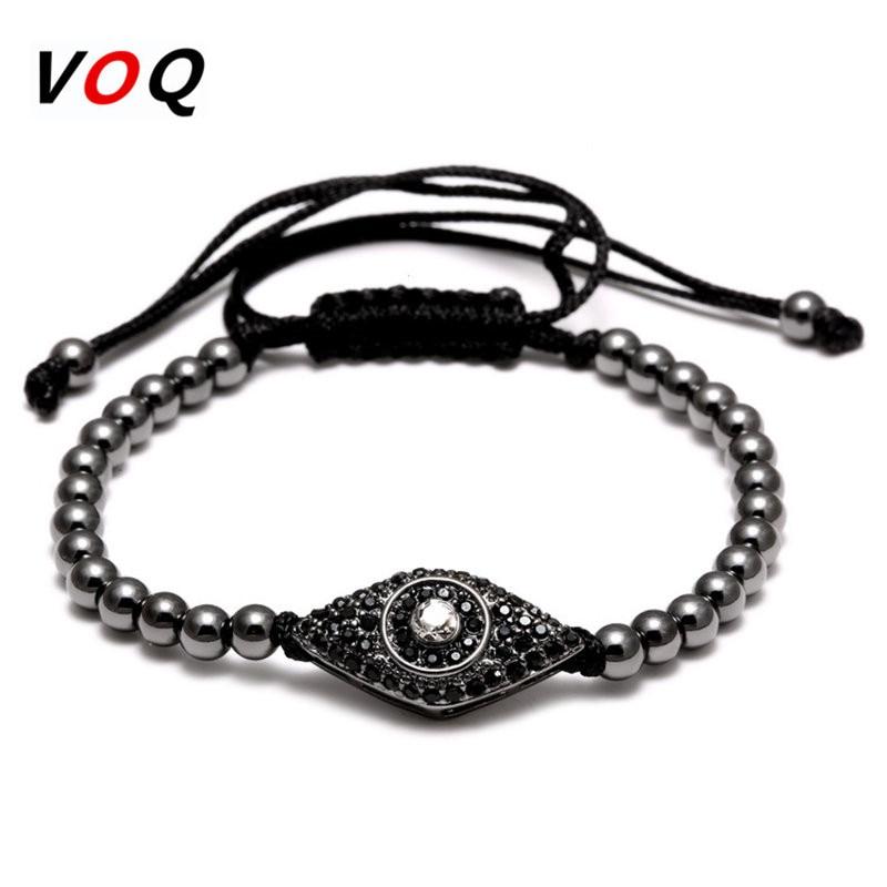 Fashion Style Geflochtene Makramee Armband Männer Schmuck Pave CZ Evil Eye Connector mit 4mm runden Perlen Armbänder für Frauen Geschenke