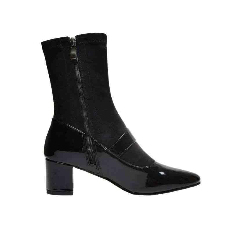Krazing pot inci toka sapanlar patchwork İnek deri akın çizmeler yuvarlak ayak yüksek topuklu kış sıcak kadın orta buzağı çizmeler L6f1