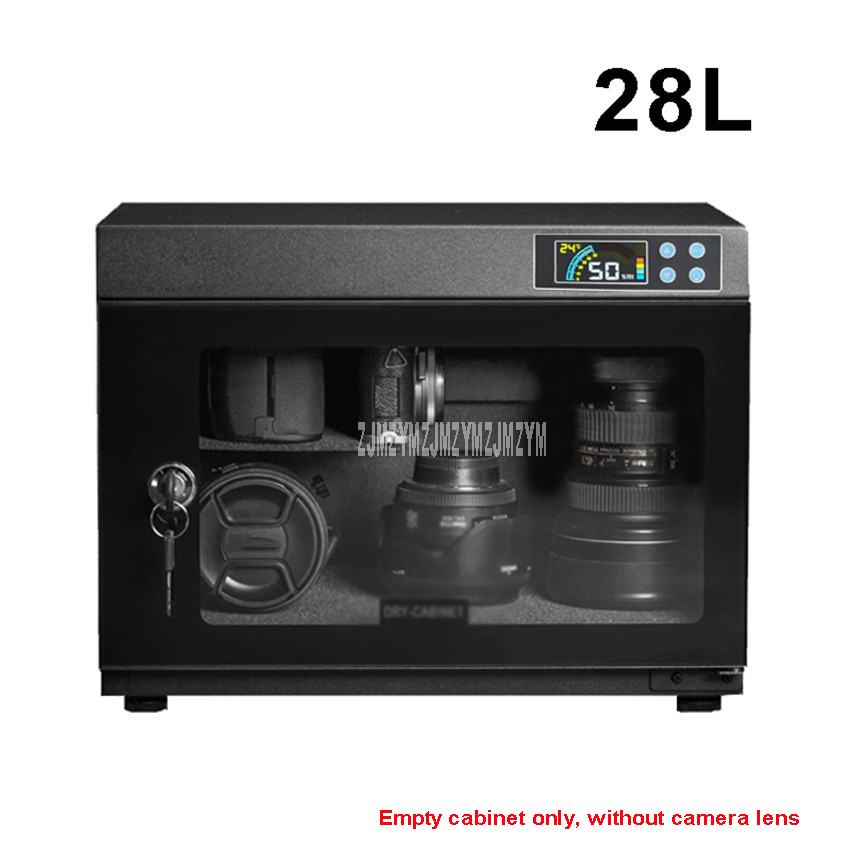 28L Full Automatic Electronic Dry Cabinet Box SLR Camera Lens Dehumidify Drying Moistureproof Cabinet Touch LED Display Screen