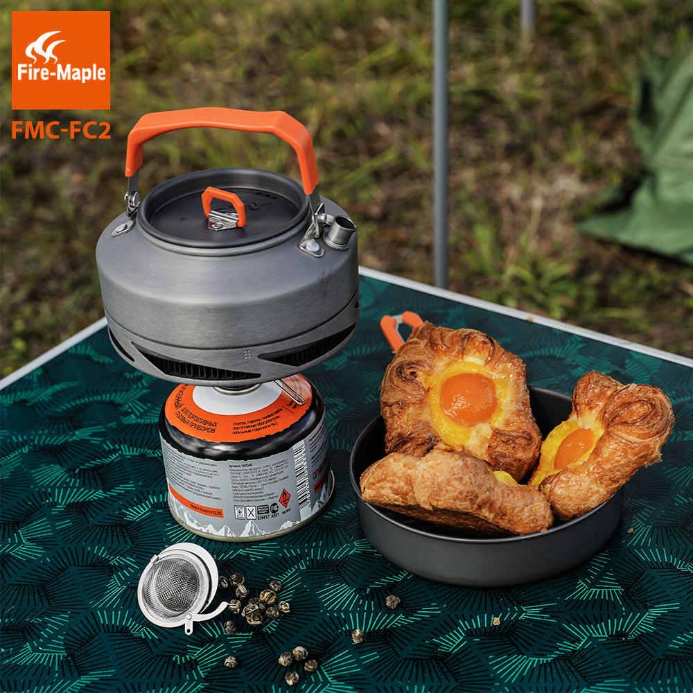 Fogo maple utensílios de acampamento pratos conjunto panelas piquenique caminhadas trocador calor pote chaleira FMC-FC2 turismo ao ar livre utensílios de mesa