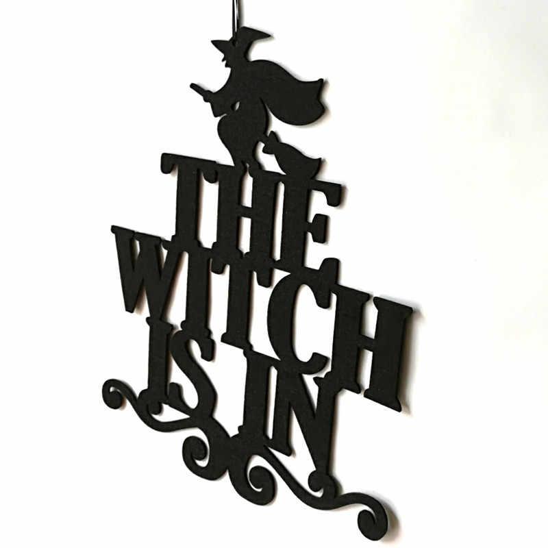 המכשפה ב ליל כל הקדושים שאינו ארוג תליית טריק או לטפל דלעת סימן דלת תליית ליל כל הקדושים קישוט ספקי צד
