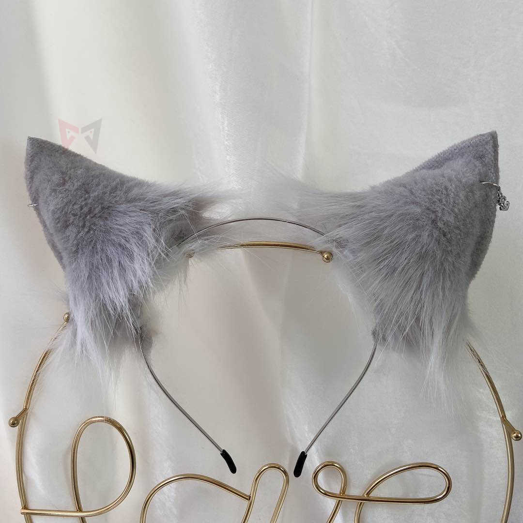 MMGG חדש יד אפור זאבים זאב אוזני שיער חישוק Hairbands בארה 'ב עגילי זנב עבור ילדה נשים באיכות גבוהה