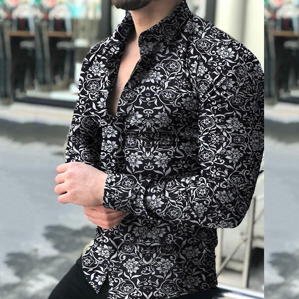 Модные рубашки для мужчин с длинным рукавом с цветочным принтом осенние Рубашки мужские платья Camisa на пуговицах воротник с отворотами мужс...