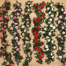 2.4m/7.8ft Artificial Silk Rose Flower Wisteria Vine Rattan Hanging Flower Garla