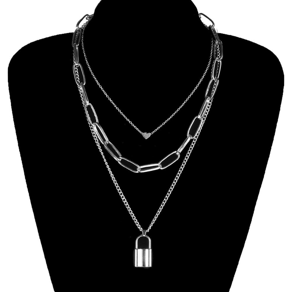 Multi Layer Lover Lock Pendant Choker Necklace Steampunk Padlock Heart Chain Necklace Collier Best Couple Jewelry Gift