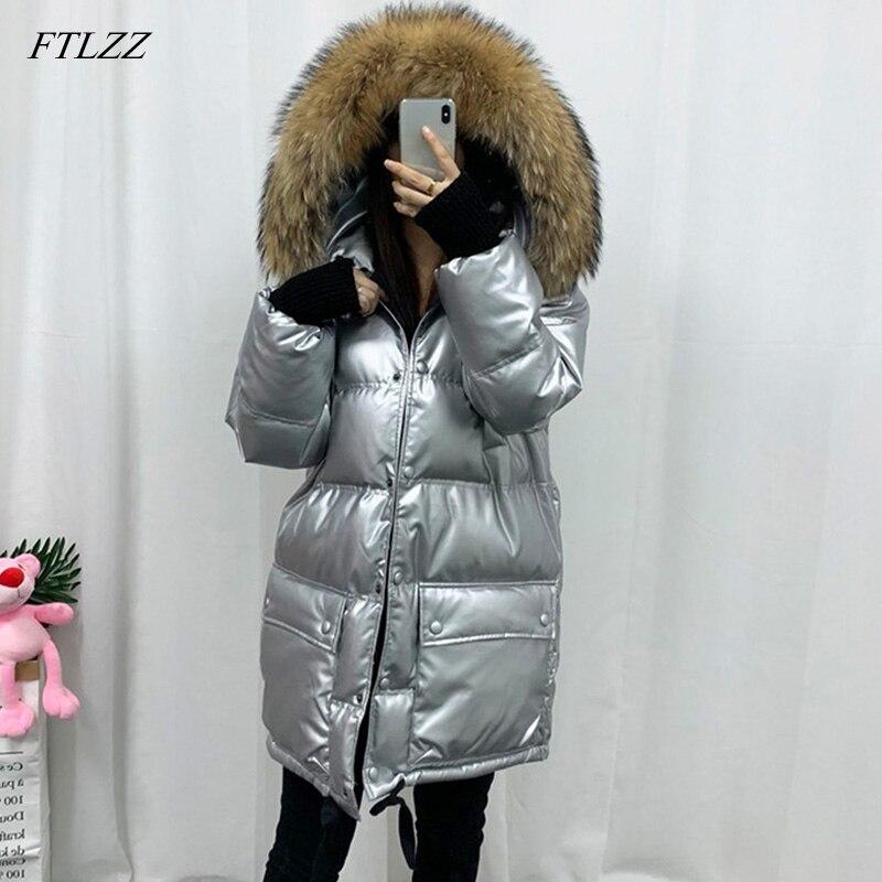 FTLZZ Real Natural Fur Bright Side   Down     Coat   Winter Jacket Women Thicken Medium Long Parka Female Waterproof Duck   Down     Coat