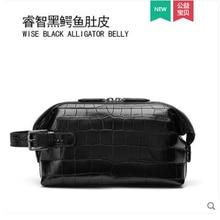 gete Real crocodile  Handbag for men simple handbag for men clutch bag with large capacity crocodile skin belly bag for men недорого