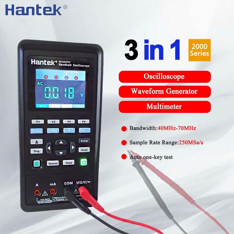 Hantek 2C42 2C72 2D42 2D72 Digital Oscilloscope Waveform Generator Multimeter 3in1 Portable USB 2Channel 40mhz 70mhz Test Meter